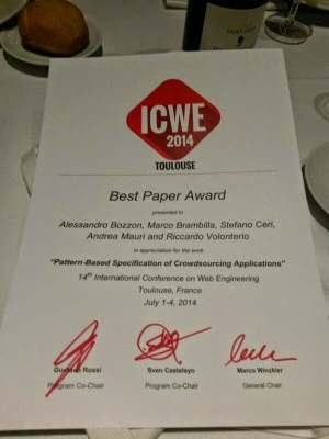ICWE 2014 Best Paper Award Certificate to Pattern-Based Specification of Crowdsourcing Applications. Bozzon, Brambilla, Ceri, Mauri, Volonterio